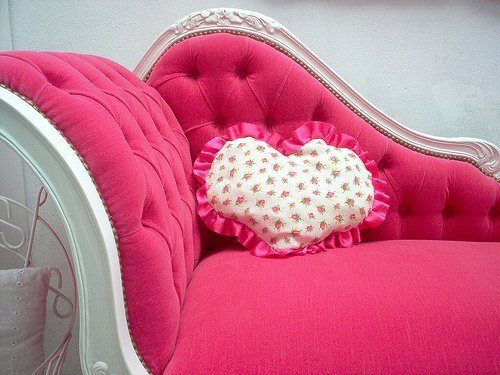 cusion, heart, pink, sofa
