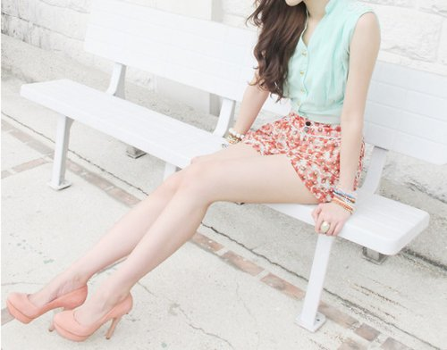 cute, fashion, floral, pink, pretty, pumps, shorts, summer, vintage, white