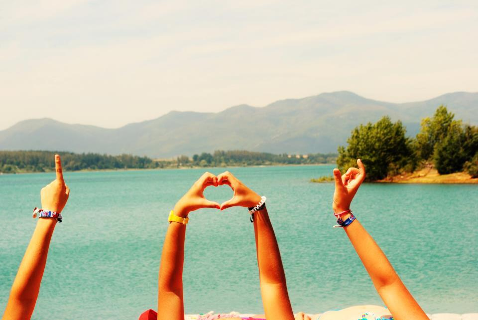 cute, friends, girls , i love you, lake