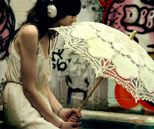 cute, girl, gourgeous, music, pretty, sad, umbrella