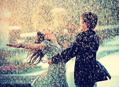 dancing, laughing, love, rain