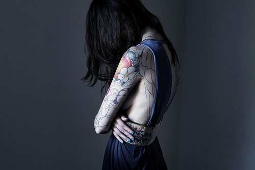dark, girl, hipster, lonely, model, sleeve, tattoo, tattoo sleeve, tattoos, thin