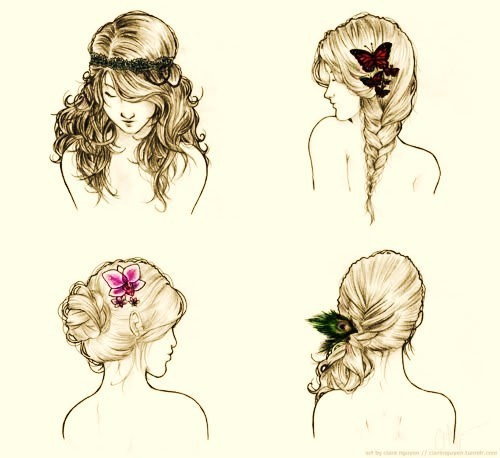 drawing, hair, pretty