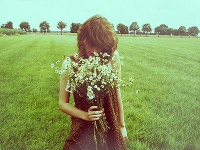 dress, flowers, girl, grass, summer