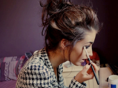 eyes, girl, makeup, messy bun, room