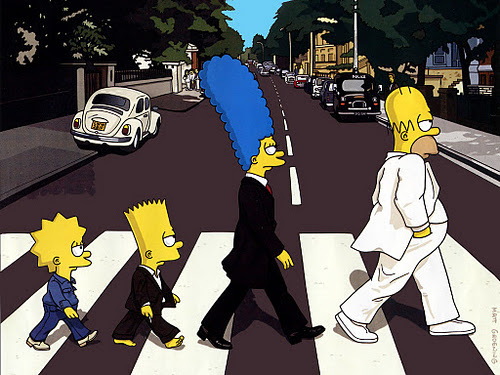 family, funny, simpsons, zebra crossing
