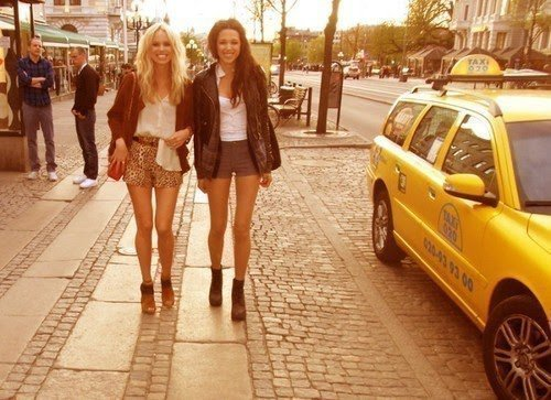 fashion, friends, taxi, yellow taxi
