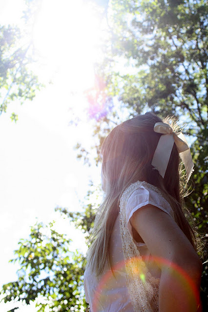 fashion, girl, nature, noeud, ribbon, sun, vintage