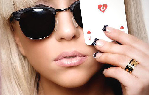 fashion, lady gaga, nails, poker, style, sunglasses
