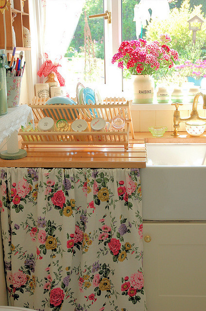 flowery, home, house, kitchen, shabby chic