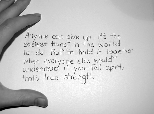 friendship, giving up, hope, quote, strength
