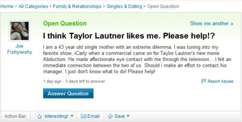 funny, haha, lol, que pendeja lol, question, taylor lautner, text
