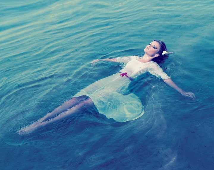 girl, lovely, water, white dress