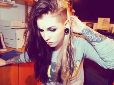 girl, shaved, sidecut, tattoo, undercut