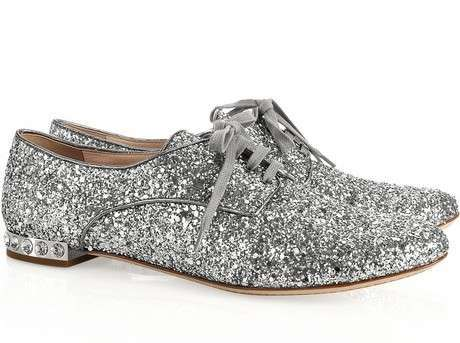 glitter, grey, loafers, miu miu, oxfords