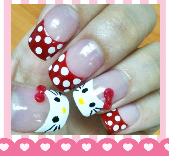 hello kitty, nail art, polish, polka dot, red and white