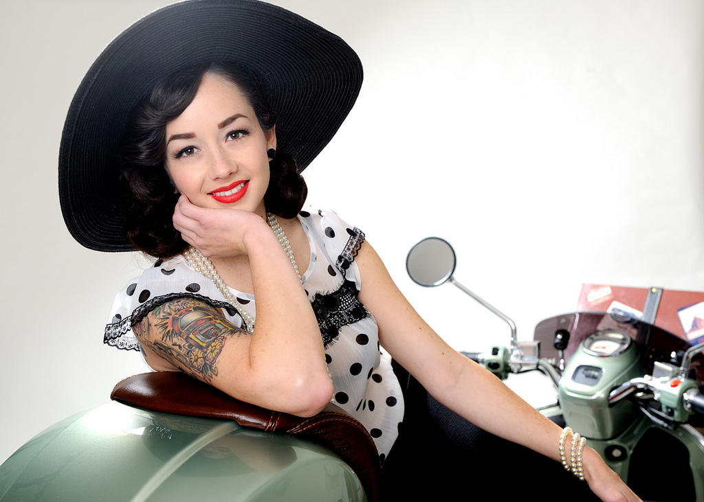 hut, pinup, portrait, retro, tattoo