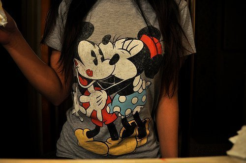 kiss, love, mickey mouse, miney mouse, t shirt