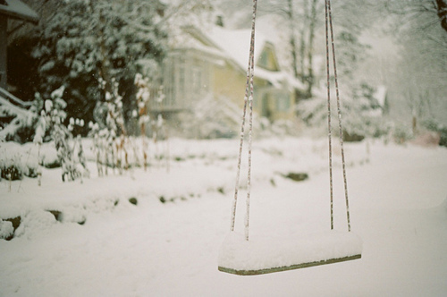 photo, snow, swing, vintage, winter