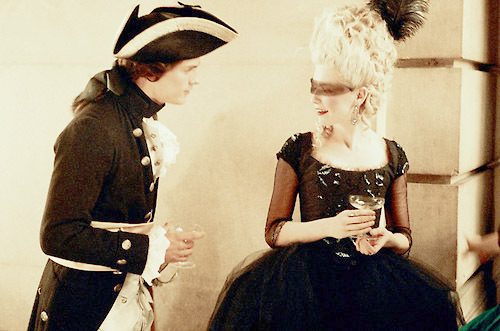 18th century, blonde, charming, couple, dress, elegant, fashion, french, glamour, hair, jamie dornan, kirsten dunst, love, marie antoinette, mask, pretty, sofia coppola, vintage