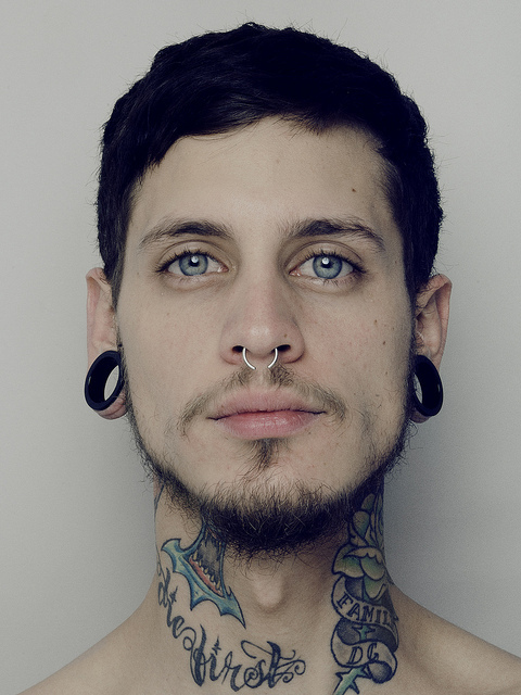 2012, alternative, blue eyes, boy, couple, fashion, flash tunnel, kudai, love, man, pablo, pablo holman, photography, piercing, plugs, quote, septum, style, tattoo, tattoos, text
