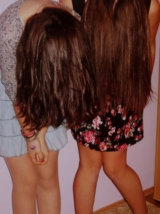 2012, bff, black hair, brunette, cute, ema huremovic, flowers, friends, girl, girls, hair, legs, new year, party, skirt, teen, teenagers