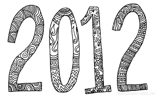 2012, new year, word art