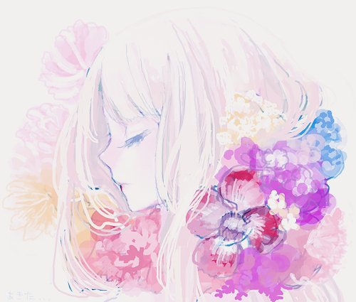adorable, amazing, anime, art, beautiful, close eyes, cute, draw, fashion, female, flowers, girl, hair, illustration, image, kawaii, perfect, pretty, style