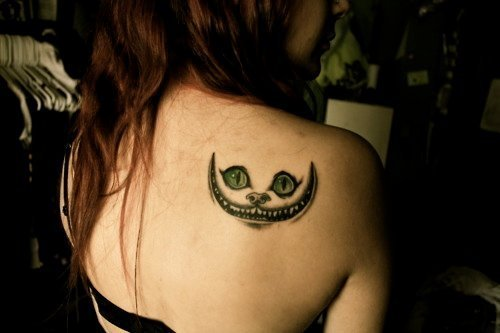 alice, alice in wonderland, cat, cheshire cat, tattoo