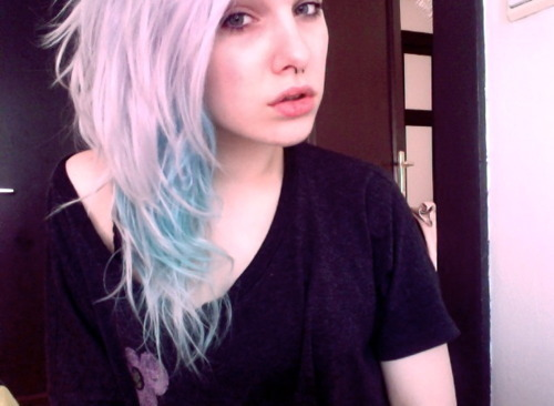 alternative, beautiful, bicolor, bicolor hair, colored hair, colorful, colorful hair, coloured hair, cute, dye, dyed hair, eyes, girl, gorgeous, hair, hairstyle, light blue, light blue hair, pastel, pastel hair, rose, rose hair, septum, sexy
