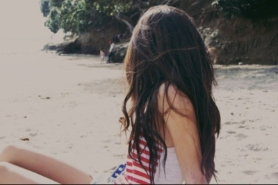 america, american flag, back, beach, beautiful, brown, brown hair, fashion, girl, hair, long, long hair, nature, sand, summer, sun, sunshine