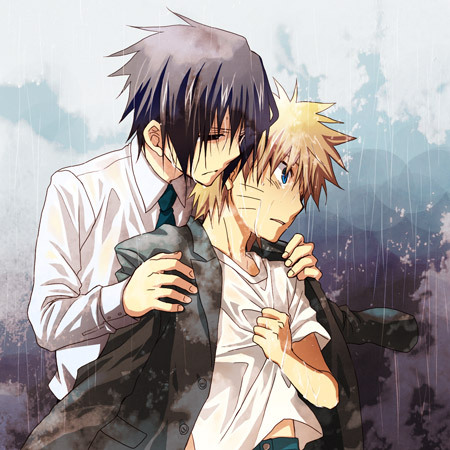 anime, cute, love, manga, naruto, rain, yaoi