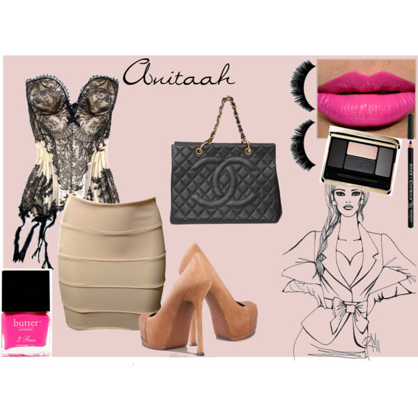 anitaah, black, chanel, lace, outfit, pink, polyvore, skirt, yves saint laurent