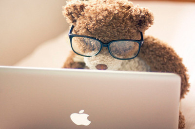 apple, cute, macbook, teddy bear