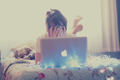 apple, girl, laptop, mac, netbook