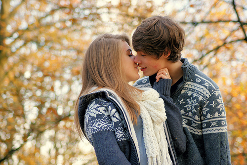 autumn, blonde, boy, couple, girl, grey, kiss, kiss me, love, love kiss, relationship, winter