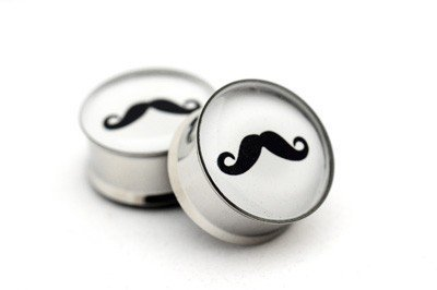 awesome, cute, gauges, moustache, plugs