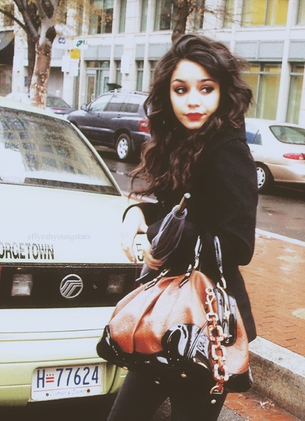 bag, coat, fashion, girl, style, umbrella, vanessa hudgens