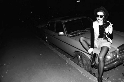 b&w, black and white, car, fashion, girl, glasses, hair, hat, shoes, tights