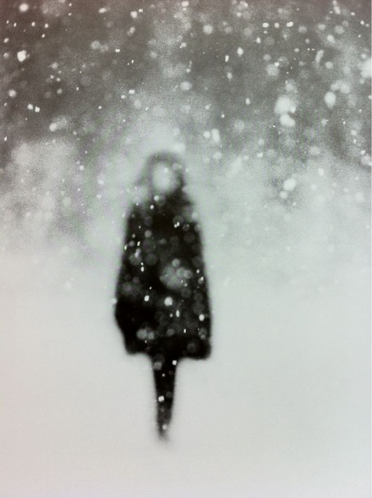 b&w, girl, winter