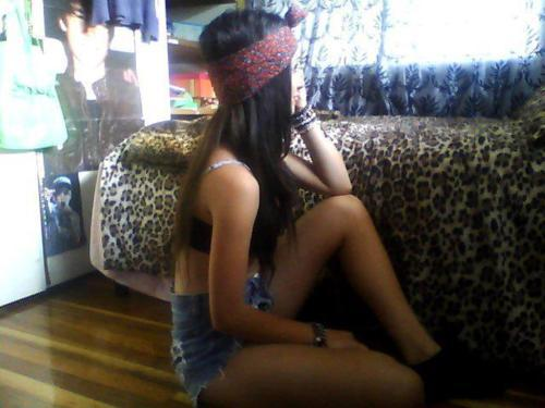 bandanna, bedroom, black, brunette, fashion