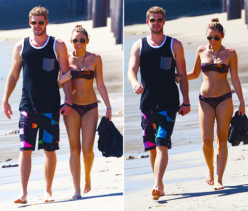 beach, bikini, liam hemsworth, miley cyrus, sun