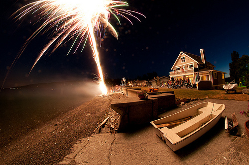 beach, boat, exterior, firework, house, light, night, ship, summer, sun, villa