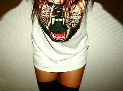 bear, girl, legs, shirt