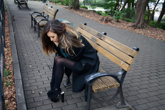 beautiful, beauty, bench, central parc, central park, classy, coat, cute, fashion, fashion model, flawless, girl, gorgeous, hair, heels, high heels, hosiery, long hair, lovely, model, perfect, perfection, pretty, sat, street style, stunning, wonderful