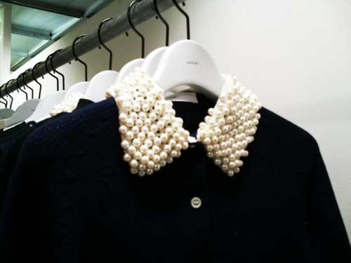 beautiful, black, clothes, dark, fashion, pearl collar, pearls, rack, wardrobe