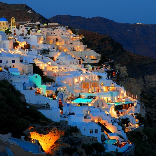 beautiful, blue, cute, greece, hill