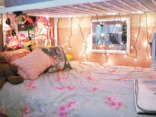 bed, bedroom, bright, bunk bed, collage  image #364255 on  ~ 211154_Dorm Room Girly Ideas