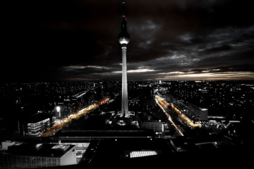berlin, by night, city, dark, germany