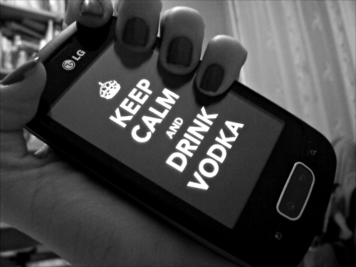 black & white, drink, keep calm, lg, nails, telephone, vodka